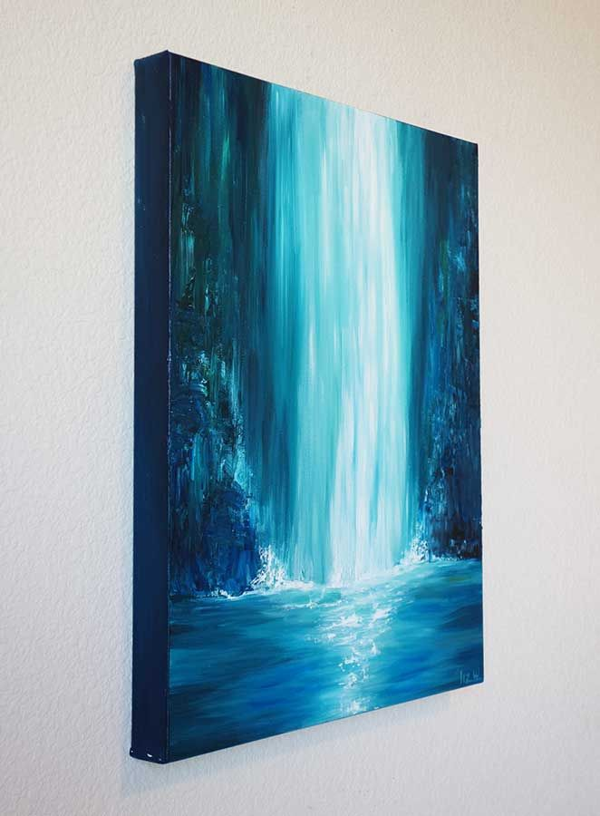 Shop Blue Falls Waterfall Painting by Liz W Fine Art. Featuring a large waterfall in colors of blue and white. Original Landscape Art Paintings by Liz W!