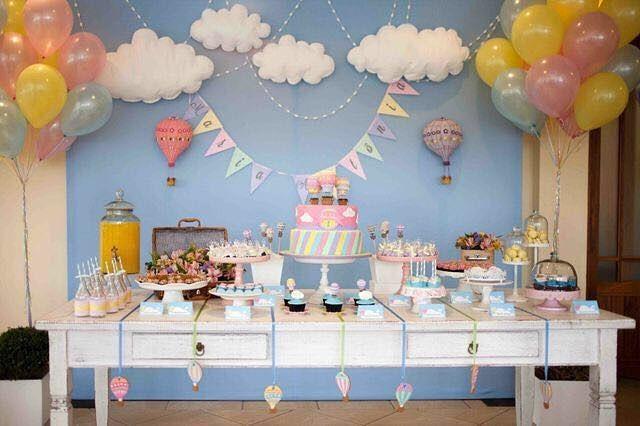 #InLove por essa festa que achei no IG @cantinhodamaternidade com o tema #BalãoDeArQuente  #QueridaData #BeijoTriplo