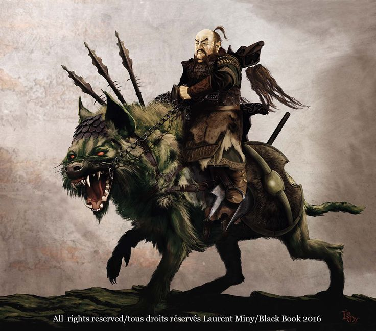 barbarian dwarf warrior mounted on giant hyena Heroes & Dragons concept art All rights reserved Laurent Miny/Black Book 2016