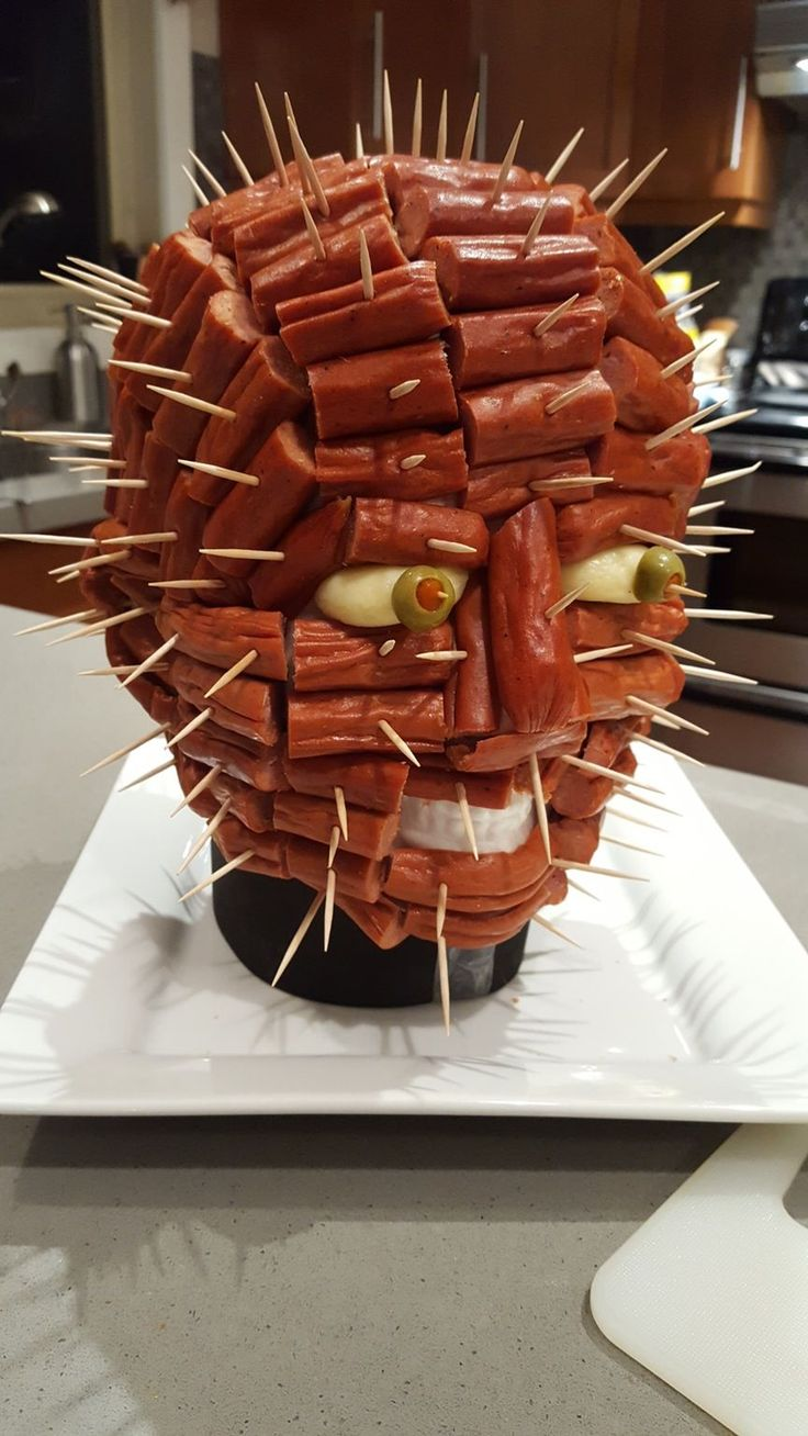 I love that time of year when a party includes a homemade pepperoni 'Pinhead' from Hellraiser.