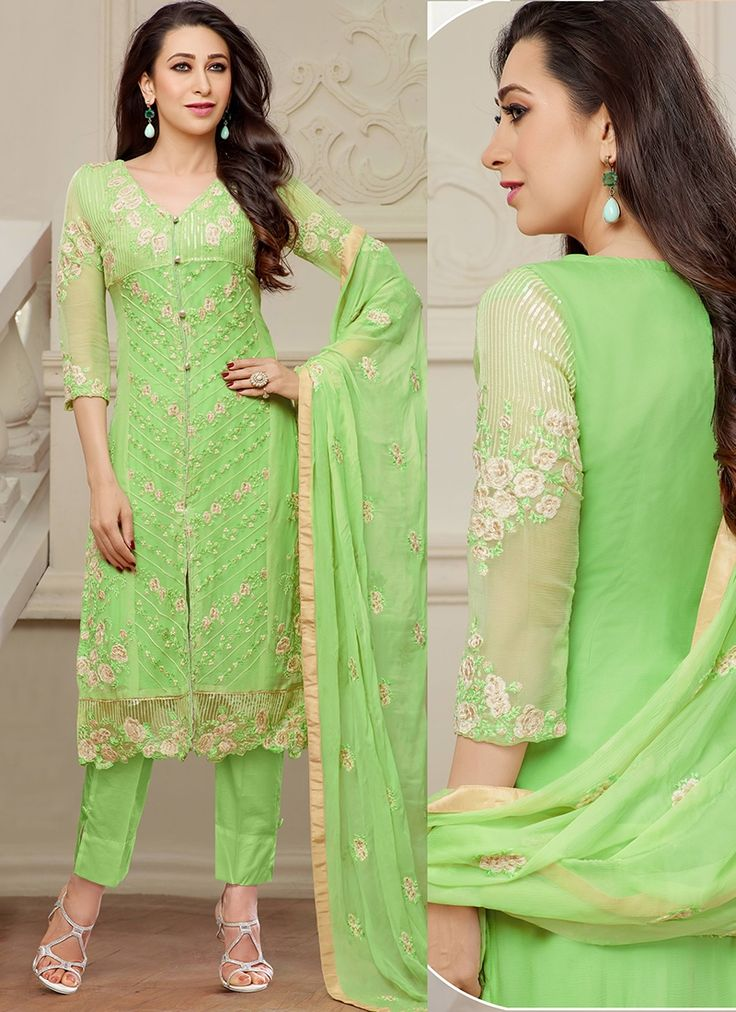 Parrot Green Color Embroid Straight Party Wear Straight Suit with Cigrrate Style Pant