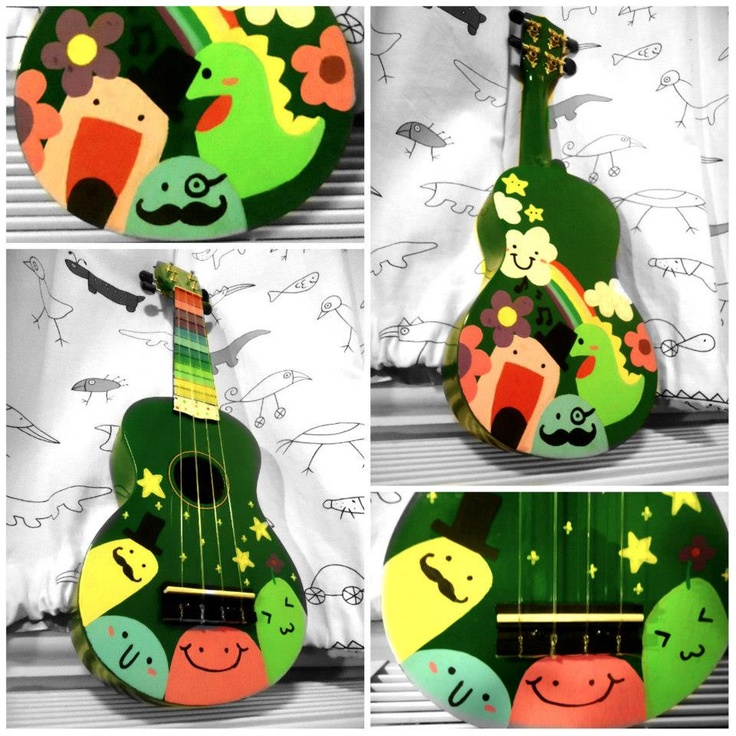 So cute! painted ukulele.