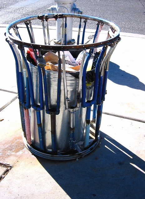 Bicycle Forks become a Street Trash Can