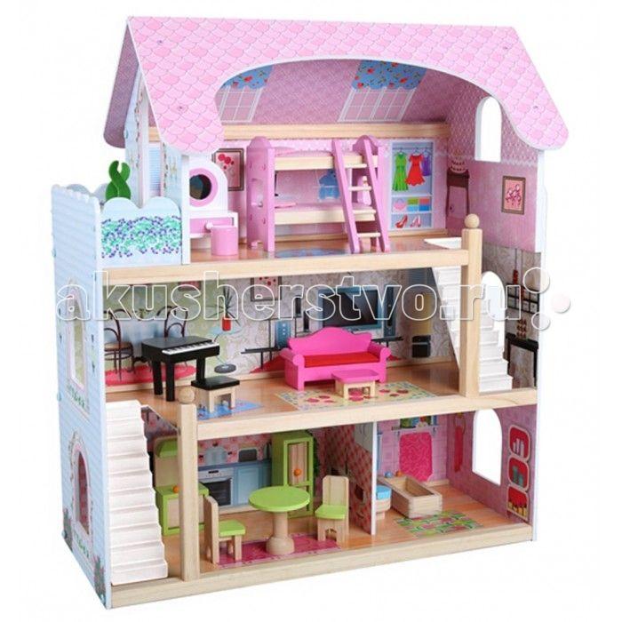 Edufun Кукольный дом с мебелью EF4110  Edufan Кукольный дом с мебелью EF4110 предназначен для девочек от трех лет. Он создан из комбинированного материала, полностью безопасного для ребенка. Благодаря наличию множества комнат, дополнительных аксессуаров, игрушка станет функциональным дополнением для развивающих и ролевых игр.  Особенности: Домик имеет три этажа. На первом расположена кухня и ванная. Второй – занимает гостиная, а третий – спальня и небольшой балкончик. Игрушка выполнена в…