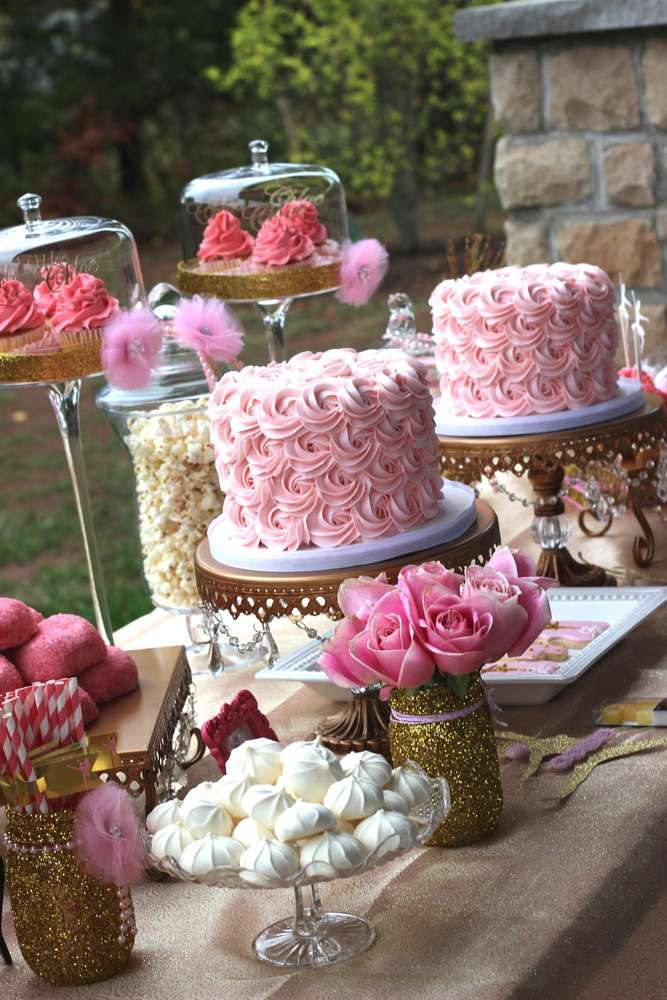 Pink & Gold ballerina birthday party! See more party planning ideas at CatchMyParty.com!