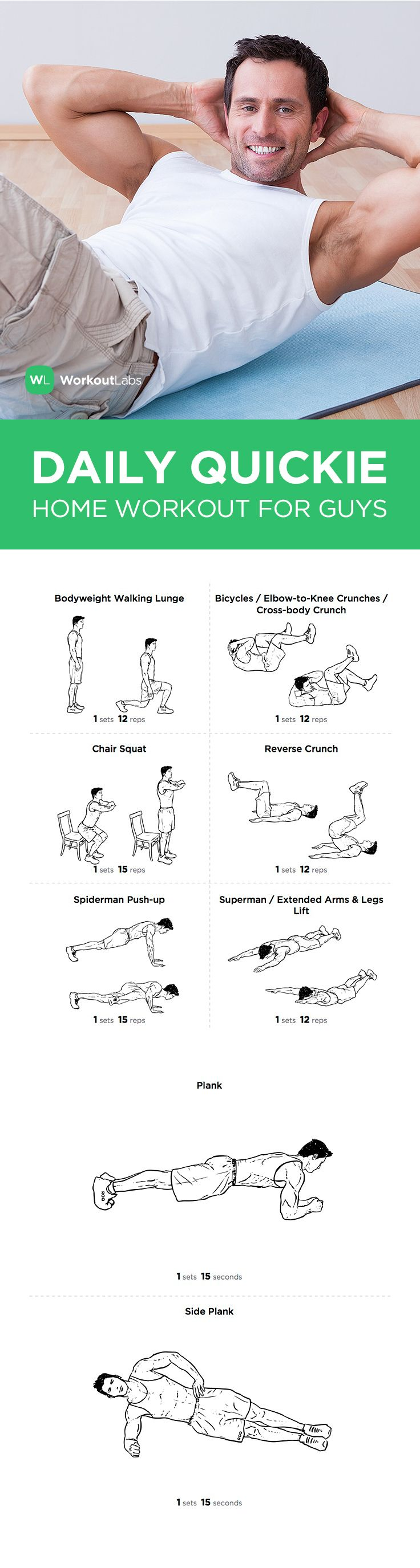 Visit http://WorkoutLabs.com/workout-plans/daily-quickie-essential-at-home-workout-for-guys/ for a FREE PDF of this Daily Quickie Essential at Home Workout for Guys