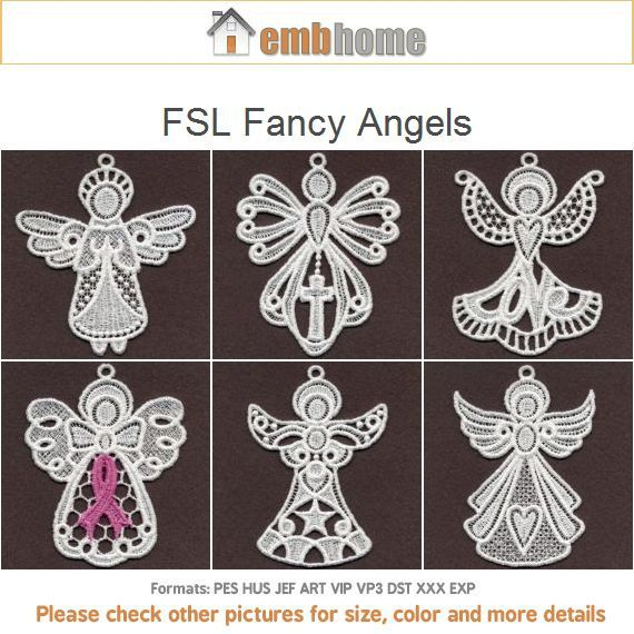 Stand Alone Lace Embroidery Designs : Fsl fancy angels free standing lace machine embroidery by