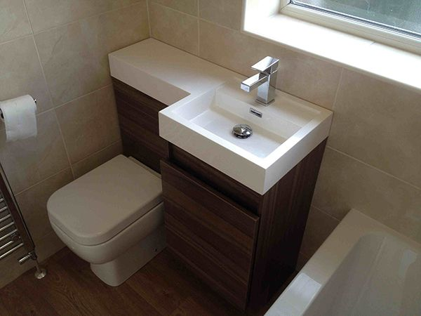 Space saving combined wc and basin unit with bathroom for D i y bathroom installations