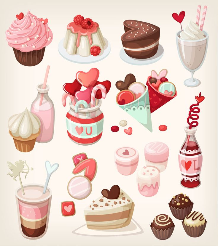 Valentine's Day Sweets Illustrations (1000x885) - clipart, clip art, holidays, February 14th, food and drink, desserts