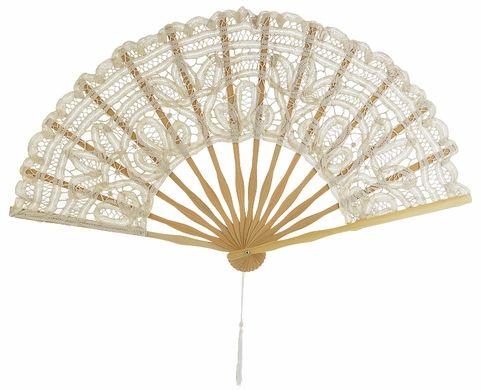 """11"""" Beige / Ivory Lace Hand Fan for Weddings"""