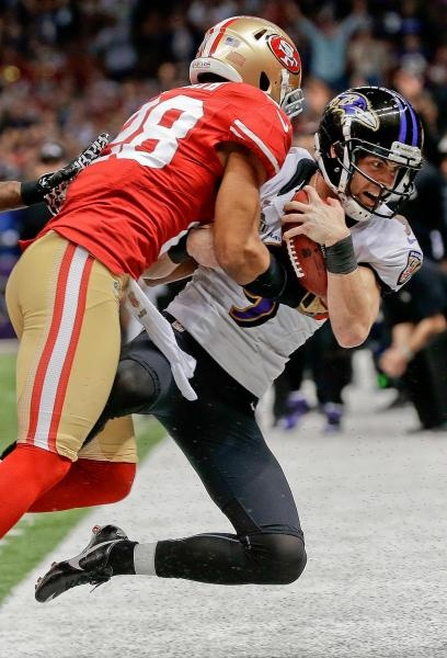 ... clearance baltimore ravens kicker justin tucker 9 is knocked out of  bounds by san francisco 8b44c 8a8ff7e7b