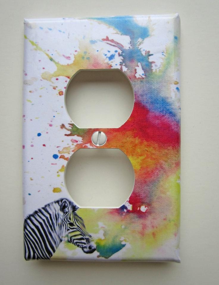 Zebra Decorative Light Switch Cover Outlet Great Zebra by idillard. $8.00, via Etsy.
