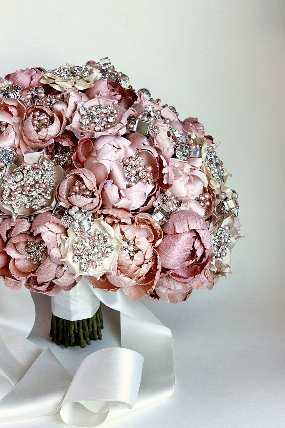 Couture Blush and Ivory Silk Fabric Flower Crystal by EmiciLivet
