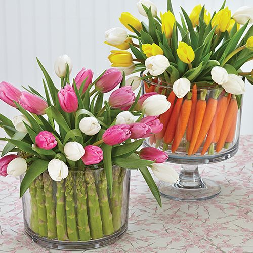 Combine veggies and flowers for a fresh Trifle Bowl arrangement - The Pampered Chef®
