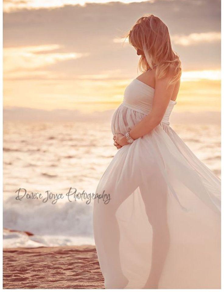 Maxi dress maternity shoot on the beach