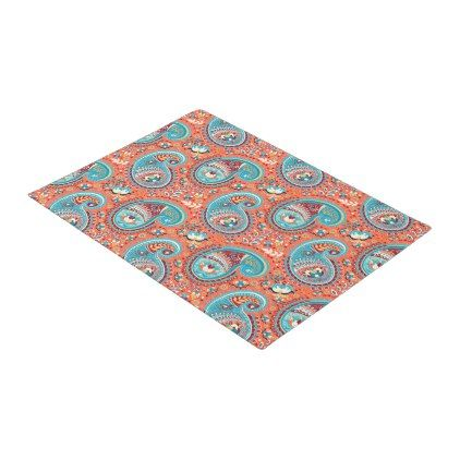 Paisley Pattern Renaissance Teal Orange Doormat - home gifts ideas decor special unique custom individual customized individualized