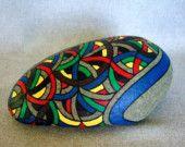 Einzigartige 3D abstrakte Kunst Objekt, OOAK Hand bemalten Rock, signiert nummeriert, Dekor und Haushaltswaren, Office-Dekor, Collectibles, Geschenk für ihn