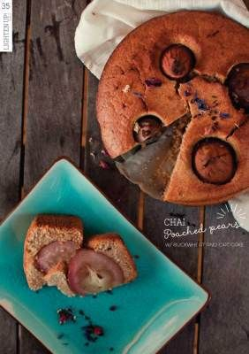 Chai poached pears buckwheat and oat cake