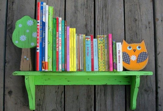 Birch Tree Kids Bookshelves Feature Sweet Woodland Creatures In Vibrant Colors | Inhabitots