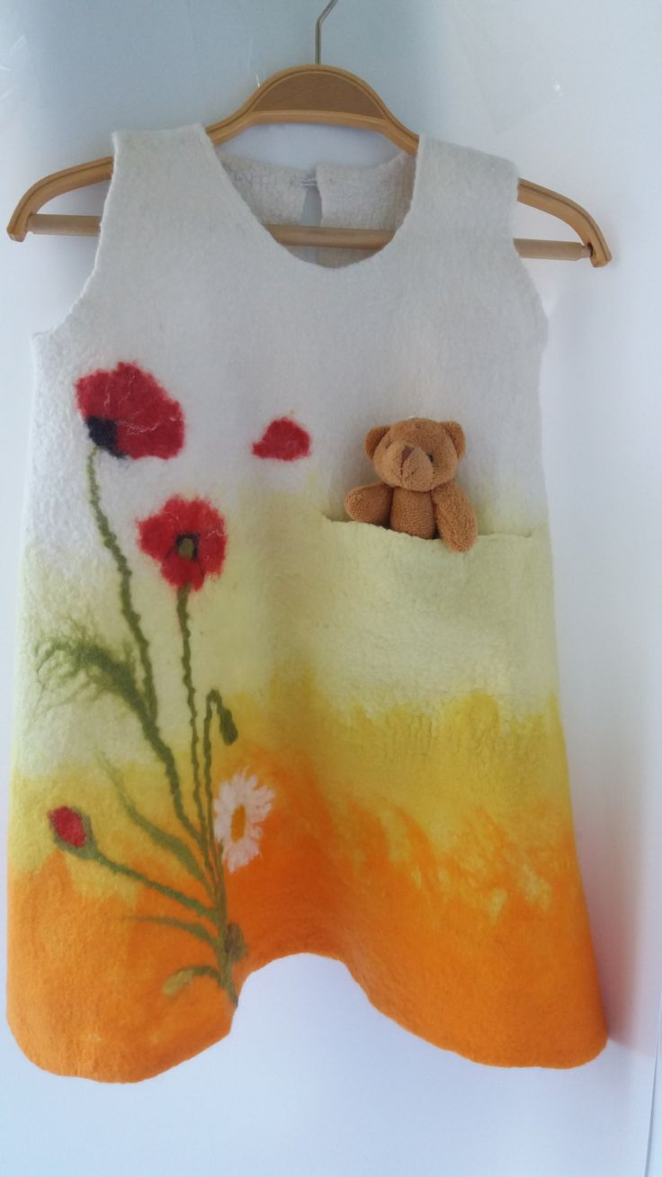 Free shipping nuno felted dress colorful felted dress for girls -orange-yellow  dress - winter wool dress. by ZaborkaArt on Etsy