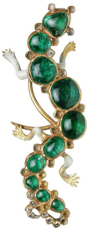 Cheapside Hoard Emerald Diamond and enamel Salamander Brooch