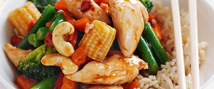 Sweet chilli chicken and cashew stir-fry – Recipe courtesy of Healthy Food Guide magazine