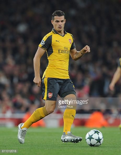 Granit Xhaka of Arsenal during the UEFA Champions League match between Arsenal FC and FC Basel 1893 at Emirates Stadium on September 28 2016 in...  https://oddsjunkie.com <--  free soccer news and offers