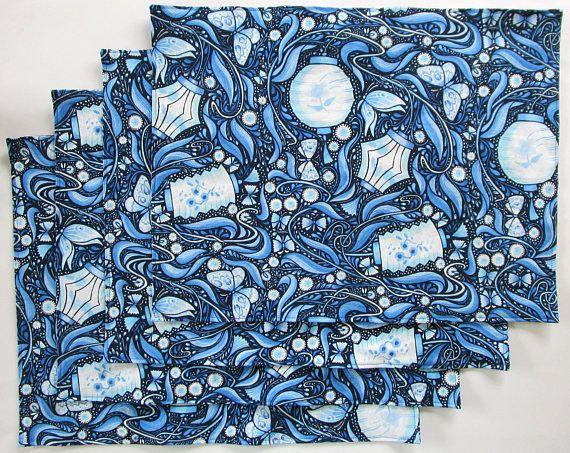 Large Cloth Place Mats  Set of 4  Dark Navy Blue White