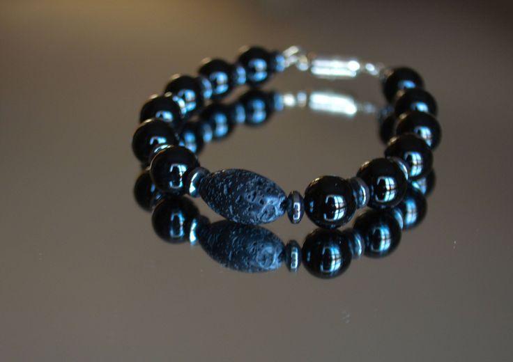 Black Men's Charm Bracelet - Silver Charm Bracelet - Men's Bracelet -Black Lava Bracelet - Onyx Bracelet - Unisex Beaded Bracelet by IRJewelryDesign on Etsy