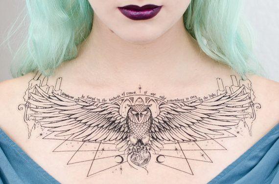 Owl Podium Dumbledore-Inspired Temporary Tattoo di SeventhSkin