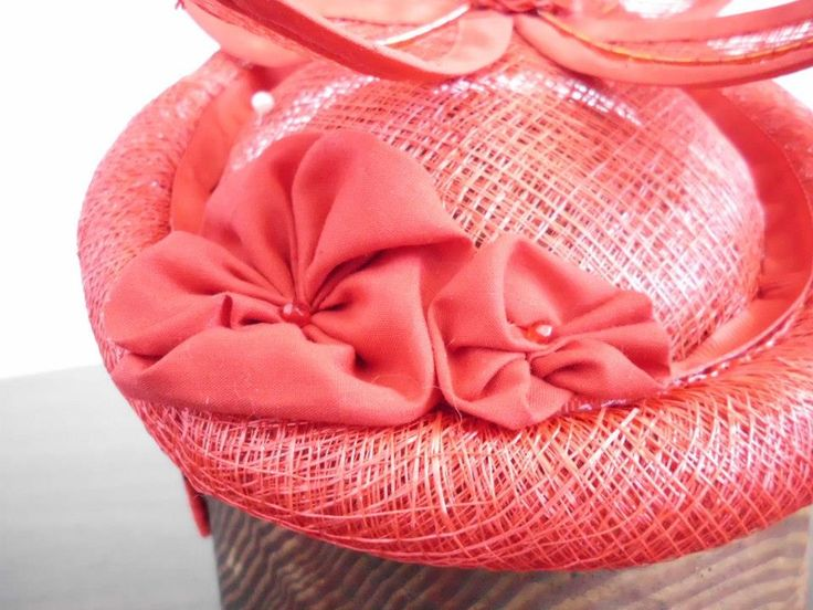 Red Straw Hat. Hand made.