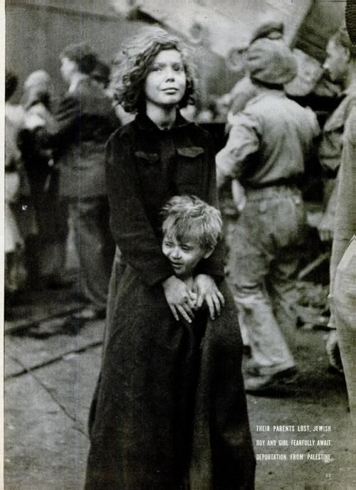 Their parents lost, two Jewish children waiting for deportation from Palestine, December 1946