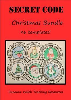 Code Breaking - Secret Code Wheels - Christmas theme - alphabet, numbers, symbols.