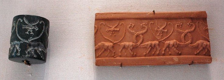 Cylinder seal with its impression on clay; serpopards and eagles, Uruk Period, 4100–3000 BC