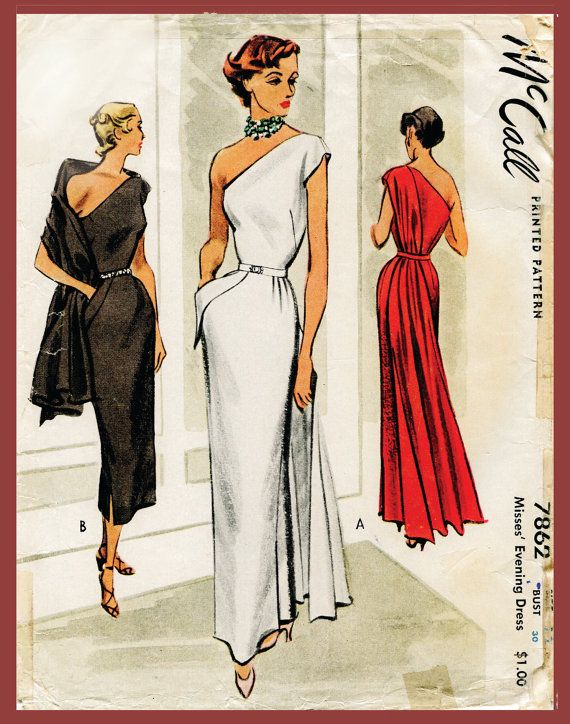 1940s 1950s vintage gown sewing pattern evening cocktail dress one shoulder fitted bodice paneled drape bust 30 repro English & French