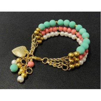 Best DIY Ideas Jewelry:    Pulsera de Moda con Bola de Caucho y Perla    -Read More –