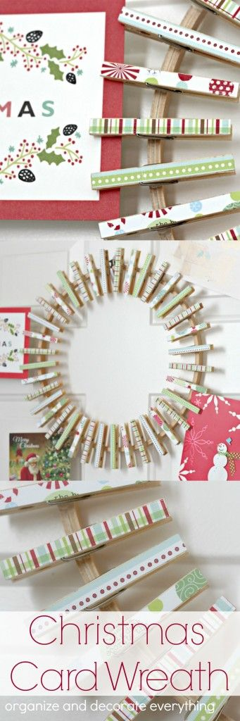 Make this clothespin Christmas Card Wreath to hold and display all your Christmas cards this season.