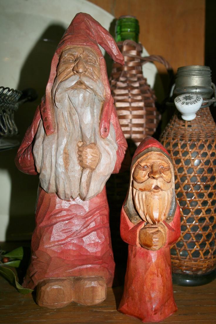 Wood carved santas.