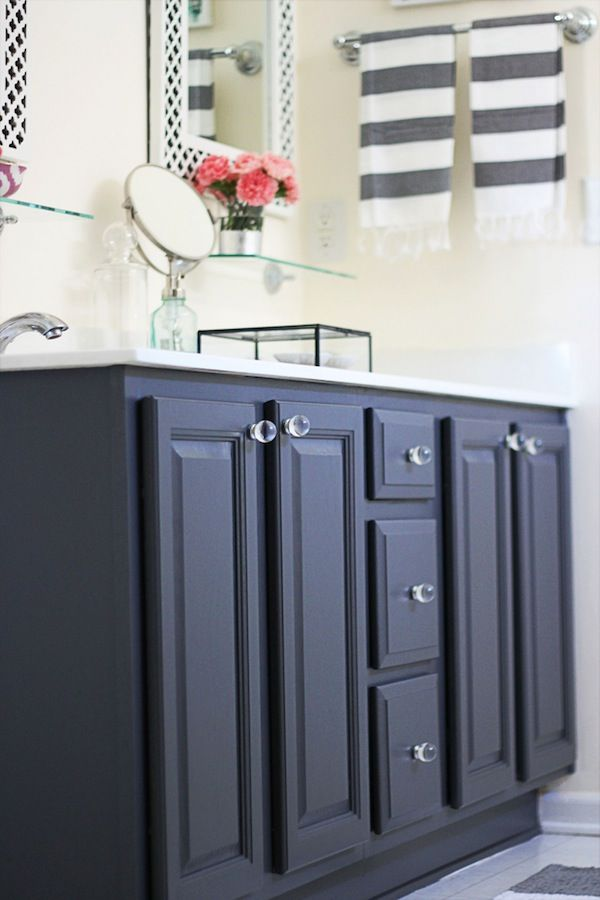 magenta handbags repainted bathroom vanity   from oak to charcoal gray   benjamin moore satin gray 2121 10   two delighted
