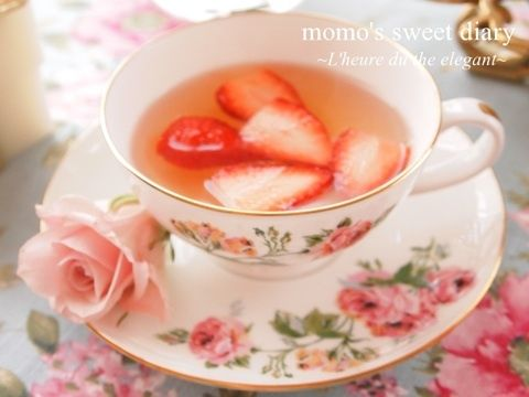 strawberry tea time... I need to add strawberries to this tea to look like this.
