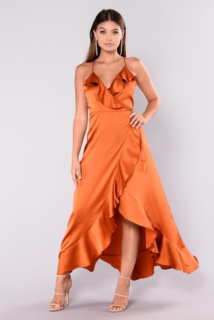 Dabria ruffle dress rust rust dress satin dress long