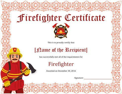 11+ Firefighter Certificate Templates Free Printable Word  PDF