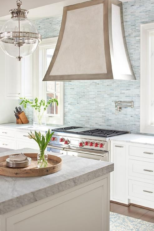 White And Gray Kitchen Features A Two Tone French Vent
