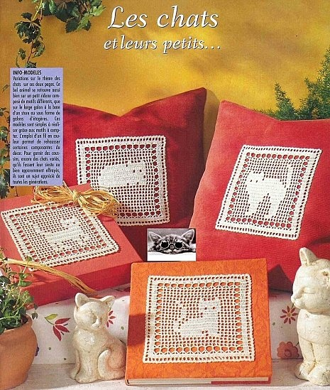 Cats crochet filet work with diagram