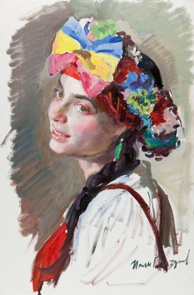 Russian costume in painting. Ivan I. Glazunov. A  girl in the Russian costume. A sketch . 2006. #art #painting #Russian #costume