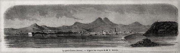 Le port d'Arica (Pérou) - page original de L´Illustration, 1857