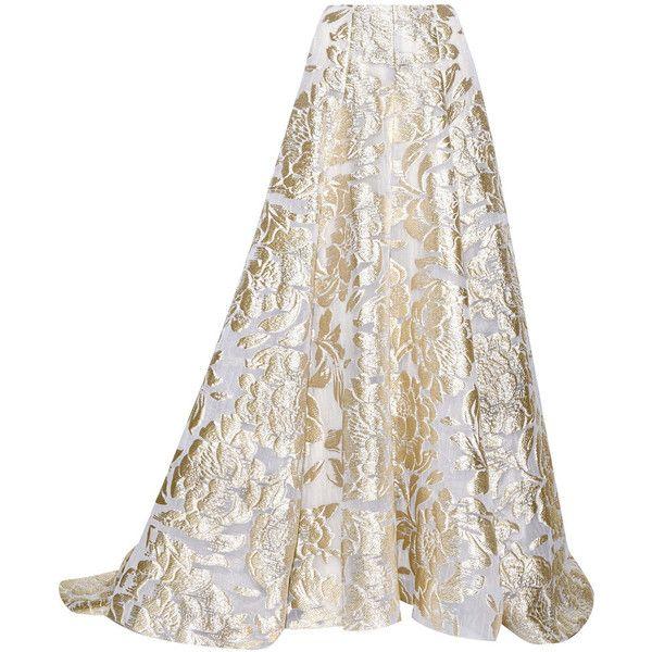 Lela Rose Metallic fil coupé maxi skirt ($2,315) ❤ liked on Polyvore featuring skirts, dolls, gold, long skirts, ankle length white skirt, lela rose, floor length skirts and maxi length skirts