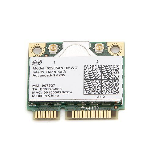 New Intel® Centrino® Advanced-N 6205 62205AN.HMWG WIFI Wireless N Wlan Card Dual-band 2.4/5.0 GHz 802.11a/b/g/n 300 Mbps by Intel. $15.99. Description:  The Intel® Centrino® Advanced-N 6205 is a dual-band (2.4 GHz and 5.0 GHz), 2x2, IEEE 802.11a/b/g/n Wi-Fi wireless adapter that delivers up to 300 Mbps of bandwidth, up to 2x the range, and more consistent connectivity1.  This PCIe* Half Mini Card provides a low profile design for existing laptops as well as for newe...