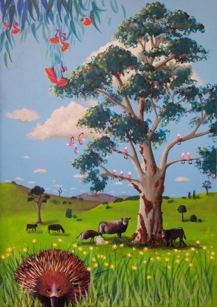 Gate section from GUM TREE MURAL by Australian Artist, Selinah Bull http://www.selinahbull.com
