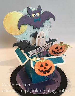 Halloween is a week away! Get ready for fright night with this fun card by Karen Aicken on her blog: http://alteredscrapbooking.blogspot.com/2016/10/halloween-pop-stand-card.html. For this boo-tiful project, Karen uses Karen Burniston's Flower Pot Pop Stand, here she uses it as a standalone box card. Karen A. fills her Pot Pop Stand with various Halloween dies from Karen Burniston! Visit the full post for supplies. Buy the supplies on our online store: https://www.elizabethcraftdesigns.com/